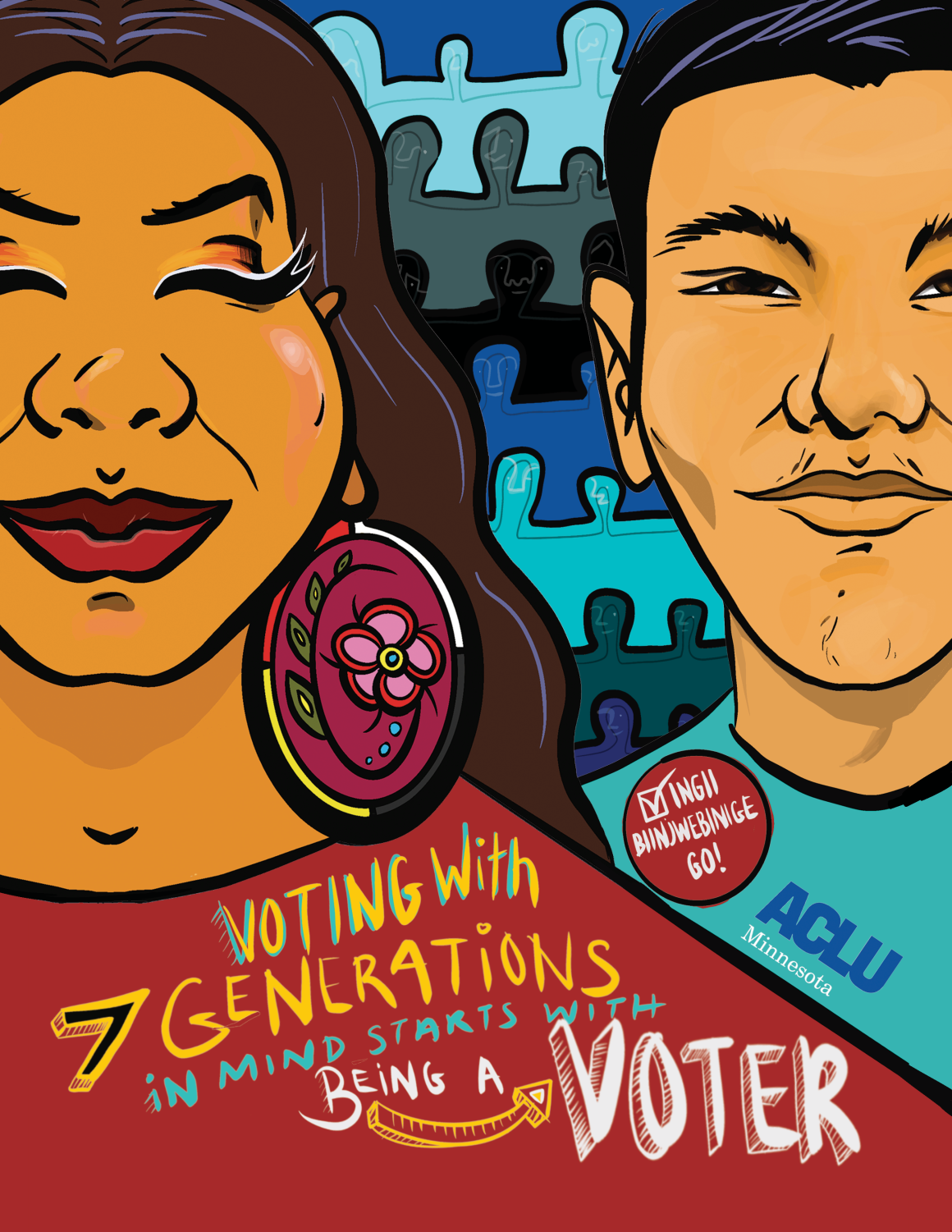 An Indigenous woman and man stand in front of seven rows of undefined figures. Text reads: Voting with 7 generations in mind starts with being a voter.""